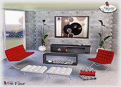 Sims 3 living, livingroom, coffeetable, plant, painting, pillows, sideboard