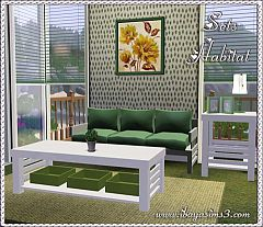 Sims 3 sofa, coffee table, table