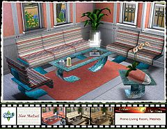 Sims 3  living room, sofa, loveseat, armchair, coffee tables, furniture