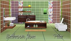 Sims 3 bathroom, furniture, objects, decor, tile, pattern