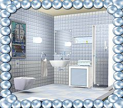 Sims 3 shower, toilet, mirror, mounted shelf, bedside table, lamp, towels, dish picture, sink, furniture, b