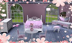 Sims 3 bed, dresser, table, mirror, desk, chair, ottoman, lamps, pillows, candles, vase, flowers, magazines
