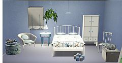 Sims 3 bed, chair, curtain, flower, coffee table, boxes, bedside table, wardrobe, bag, candles,  bowl, book