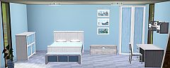 Sims 3 bed, wardrobe, dresser, desk table, shelf, chest, bench, paintings, flower, chair, sofa, furniture,