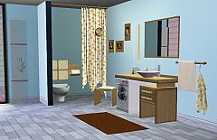 Sims 3 sink, toilet, chair, lamp wall, curtain, toilet paper, paintings, flower, glass, decoration, mat, to