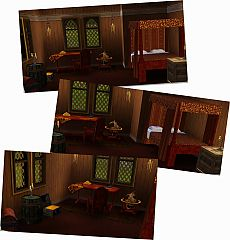 Sims 3 bed, desk, chair, compass, paper, maps, globes, chest, barrel, box, lamps, rug, gold bars, furniture