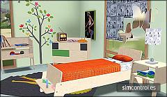 Sims 3 bed, bedside tables, makeup table, mirror, wardrobe, lamps, painting,stool.