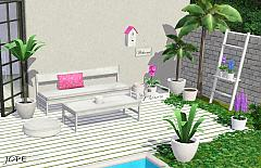 Sims 3 garden, furniture, plant, bench