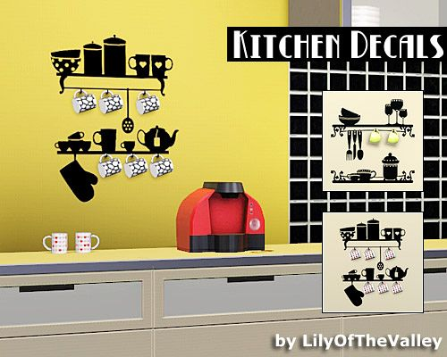 Sims 3 decor, decoration, objects, kitchen, decals