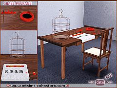 Sims 3 table, chair, ashtray, cage, furniture, decor