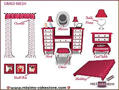 Sims 3 bed, chair, lamp, desk, end table, furniture, bedroom