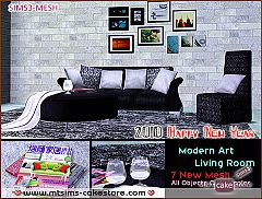 Sims 3 set, sofa, armchair, table, picture, book, cup, rug