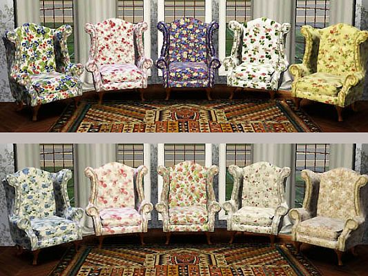 Sims 3 wingchair, recolor, floral, object