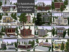 Sims 3 lot, winter, police, military, grocery, town