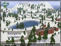 Sims 3 lot, world, winter, town, sims