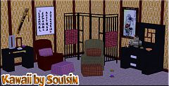 Sims 3 loungue, screen, cabinet, coffee-table, livingroom