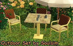 Sims 3 outdoor, garden, set, chair, table
