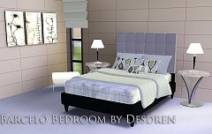 Sims 3 bed, bedspread, end table, lamp