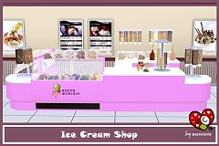 Sims 3 set, icecream, cart, shop